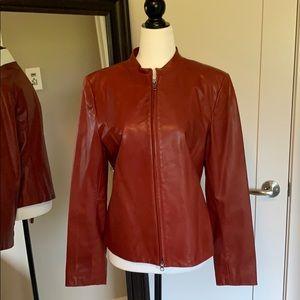 Danier rust colour leather jacket